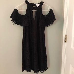 Candie's Black Lace Mini Dress with Open Shoulders